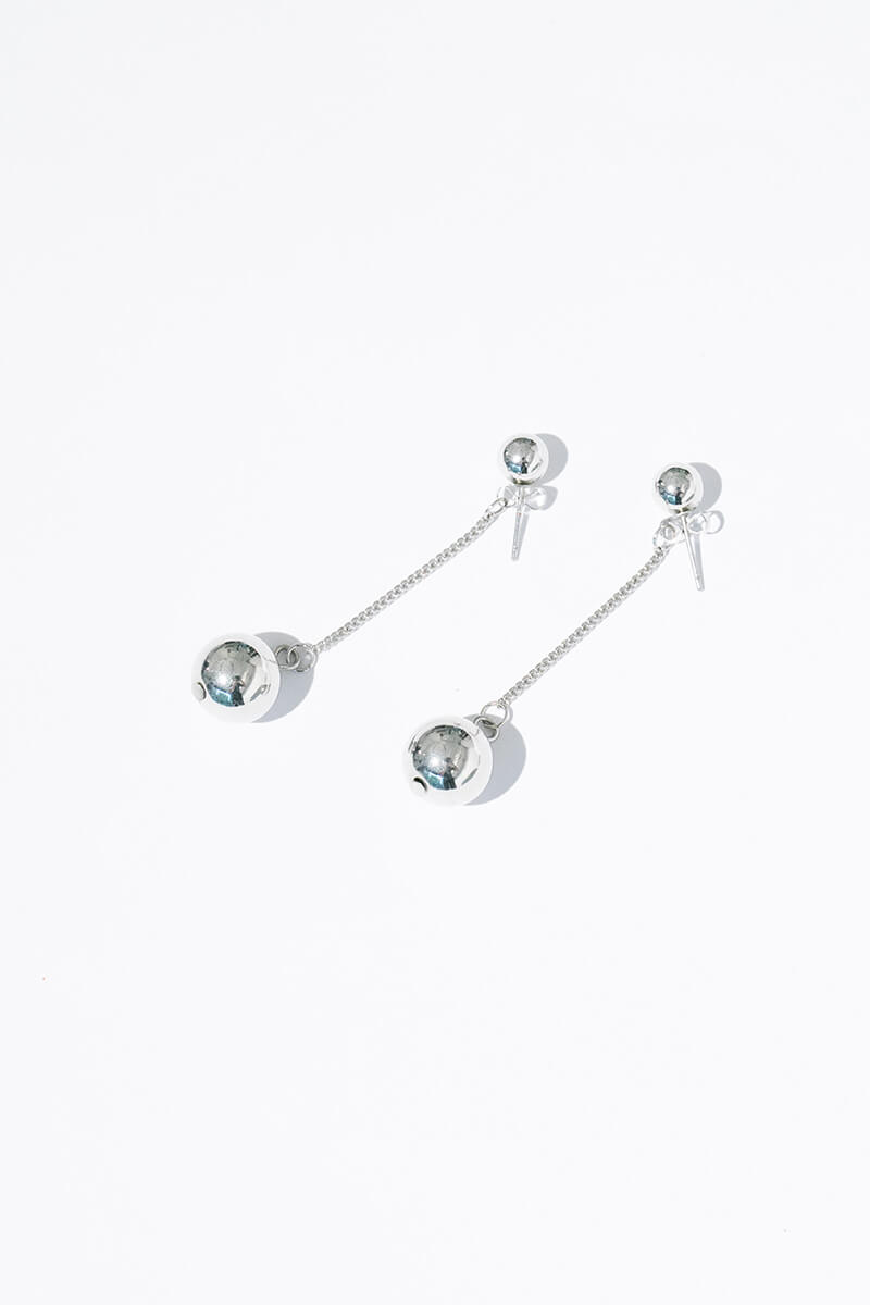 SILVER NELLE BALL EARRINGS